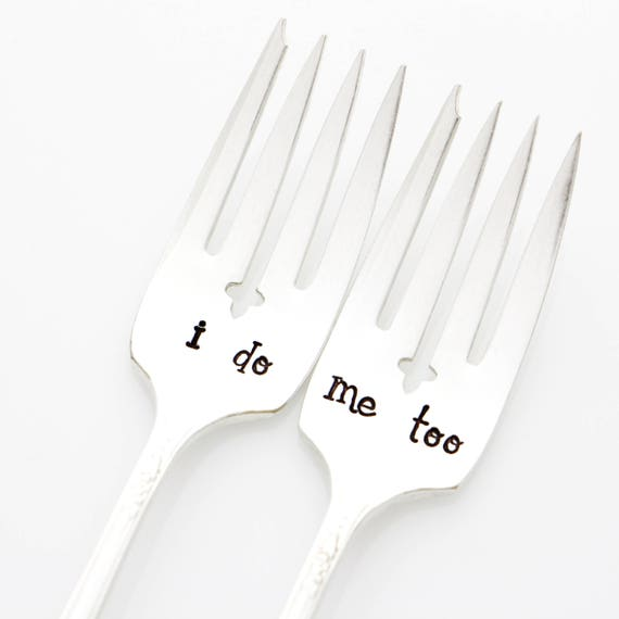 Wedding Cake Table Decoration. I Do, Me Too forks. Stamped Silverware.