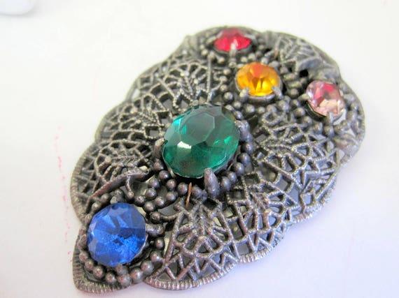 Art Deco Dress Clip - Multicolor Rhinestones - Vintage Jewelry -  Pot Metal Pin - Vintage 40's