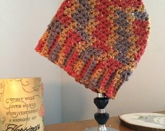 Orange and gray crochet beanie