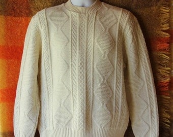 40%OFFSALE 60s Jantzen Cable Knit Sweater, Fisherman Sweater, Cream, Sportswear