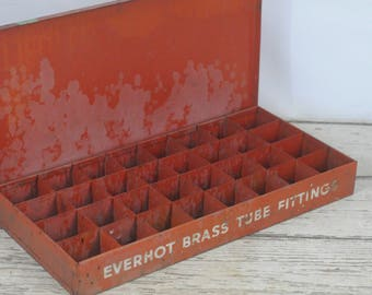 Vintage EVERHOT Brass Fittings Small Parts Box Divided Box Tool Metal 24 Slot Box