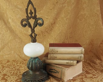 Antique Collage Sculpture- Hand Made Fleur de lis Statue, Figurine, Desk Top Art- Made from Antique Lamp Parts- Rustic- White Milk Glass
