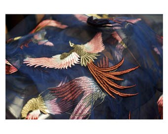 """Mesh Lace fabric, beautiful flying birds embroidery, 55"""" beautiful heavy embroidered blue mesh fabric for Dresses, skirts, curtains, BTY"""