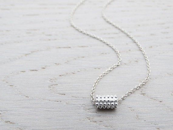 Textured Silver Bead Necklace - Sterling Silver