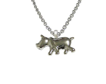 Silver Toned Rhino Pendant Necklace