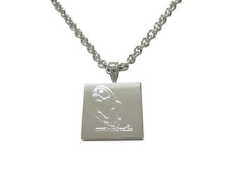 Silver Toned Etched Macaw Bird Pendant Necklace