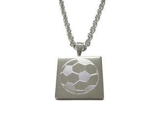Silver Toned Etched Soccer Ball Pendant Necklace