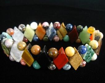 Semiprecious Stone Bead Stretch Bracelet in Geometric Pattern. Wide Variety of Stones.  Striking.