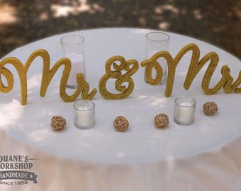 "8"" Wooden Mr and Mrs Wedding sign, Gold and Silver Glitter, Wedding Decor, Wedding, Mr & Mrs"
