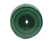 Malachite Dark Green Round Stalactite Stone Slice Semiprecious, Polished Geo Gemstone Concentric Bands Wear it or Display it African Gem