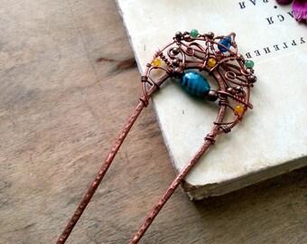 Teal Copper Hair stick, hair pin Eastern metal hair fork,  boho bun pin, wire wrap hair accessories, long hair stick, turquoise Blue Antique