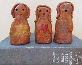 Female GOLEM One of a Kind Jewish Star, Red Heart or Shabbat Candles Magical Mythical Protector Ceramic Figurine