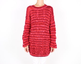 80s Hand Knit CABLE KNIT Super Slouchy / Oversized Red + Pink Knit Sweater Dress / Australiana Jumper