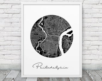 Philadelphia Urban Street Map Poster. Philadelphia City Map Print. Black White Philadelphia Pennsylvania Map Print. Circle Map Printable Art