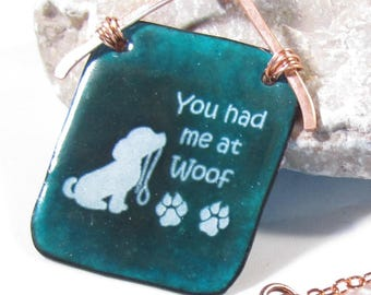 Necklace teal enamel dog lover necklace artisan