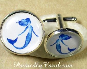 Mermaid Cufflinks, Mermaid Mens Gifts, Mermaid Suit Accessories, Mermaid Wedding Jewelry, Mermaid Bridal Jewelry, Fathers Day Gifts