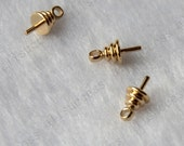 2 pcs 24K Gold filled Brass Charm Pendant cap Findings,Simple Bead cap with Peg,Jewelry findings,earrings findings