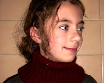 Turtleneck scarf infinity neckwarmer hand knit doublethickness tube scarf