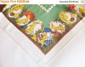 SPRING SALE - Lovely German Vintage DDR Easter Printed Tablecloth with Bunnies, Chicks and Eggs, Retro Easter Home Decor made in the Ddr Erz
