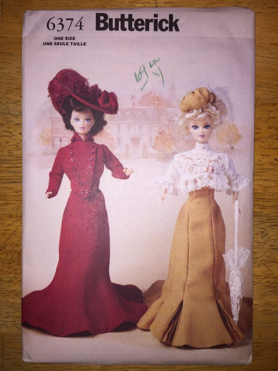 """Butterick Crafts Sewing Pattern 6374 11 1/2"""" Fashion Doll Clothes Delineator Girls 1900"""