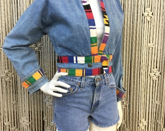 Super cute bohemian 1980's southwestern accent denim jacket