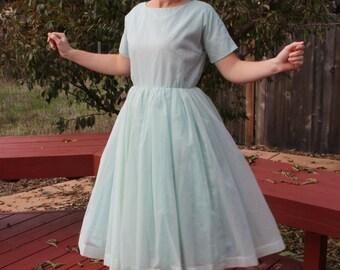 Sale / Adorable 1950s 1960s Aqua Blue Polka Dot Dress SIZE SMALL/MEDIUM