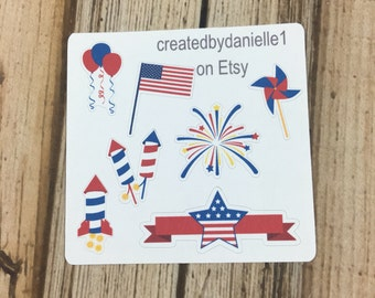 4th of July Sampler Planner Stickers, Summer Holiday Stickers, Fourth of July Planner Stickers, set of 7