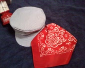 Reserved for Taryn Train Hat, Red bandanna, Diaper Cover and Navy Blue Suspender