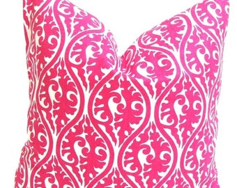 Pink Throw Pillow.Pink Pillow Cover.16x16 inch Decorative Pillow Cover.Pink Toss Pillow. Pink Cushion Cover. Pink Floral Pillow. Pink Damask