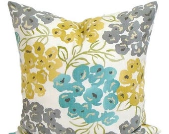 TEAL.GRAY.Yellow.PILLOW.14x14 inch.Housewares.Pillows.Flowers.Home Decor.Floral Pillow Covers.Turquoise.Gold.Yellow.Gray.Cream.Green.Teal.Cm