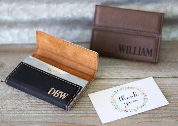 Custom Engraved Leather Business Card Holder Personalized