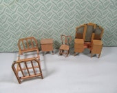 RESERVED FOR SUZANNE Vintage 1920s Tootsie Toys Bedroom Dollhouse , Rocking Chair, Miniature Metal Dollhouse Bedroom, Dollhouse Collectors