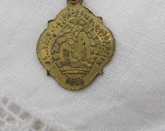 1858 Our Lady of Lourdes Medal,  Antique French The Immaculate Conception, Notre Dame De Lourdes, St. Bernadette,  Lourdes Medal, S 19