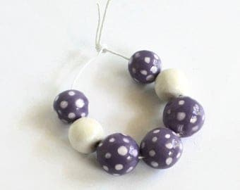 Beads, lavender and white ceramic beads, African beads, handmade African beads, ceramic beads, clay beads from Africa, beads with white dots