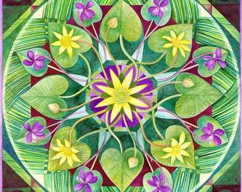 A4 print 'Celandines and Violets'  spring mandala