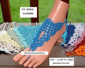 SIMPLE Wedding Foot Jewelry Barefoot Sandals Crochet Anklet Jewelry Bridal Shoes Sized SIMPLE Sandal Beach Sandle Women's Accessories