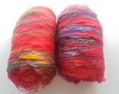 INDIAN WEDDING - Art Batts, Fine Merino Batt, Pulled Silk Art Batt, Angelina Spinning Fiber, Soft Batts for Spinning, Batts for Felting