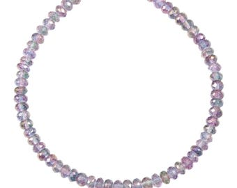 Mystic Quartz  Necklace Beaded 14k Gold Filled Solid Strand Faceted 20 Inch  AAA Purple Blue Lavender Iridescent colors 6mm size