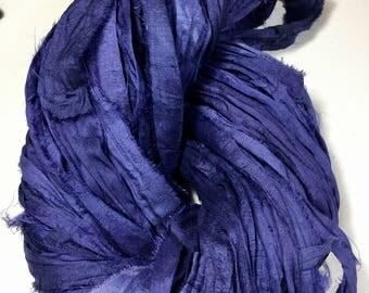 Recycled Sari Silk Ribbon Medium Navy Blue Sari Wrap Bracelet Eco Gift Wrap Arm Knitting Outdoor Decor Prayer Flag Garlands Fiber Art Supply