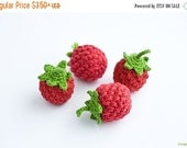 BLACK FRIDAY SALE Crochet Raspberry (1 pc) - baby rattle, play food, pretend play, kitchen decoration, eco-friendly - FrejaToys