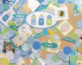 Baby Boy Embellishments - Baby Die-Cuts - Card-Making Supplies - Destash Baby Paper Crafting Mystery Bag - Die Cut Grab Bag - Scrapbooking