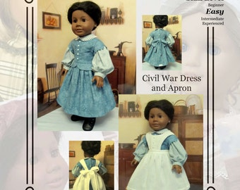 "PDF Pattern KDD12 ""Civil War Dress &Apron""- An Original KeepersDollyDuds Design, makes 18"" Doll Clothes"
