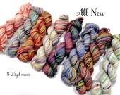 All New - 8 sock yarn mini skeins, 25 yds each, 200 yd total