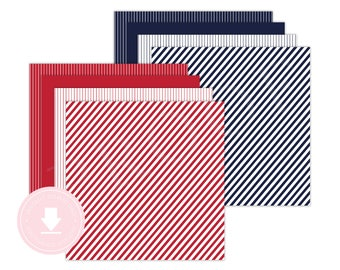 INSTANT DOWNLOAD Navy and Red Patterned Paper (Baseball Birthday, Baseball Paper, Striped Paper, Pinstripe Paper, Printable Patterned Paper)