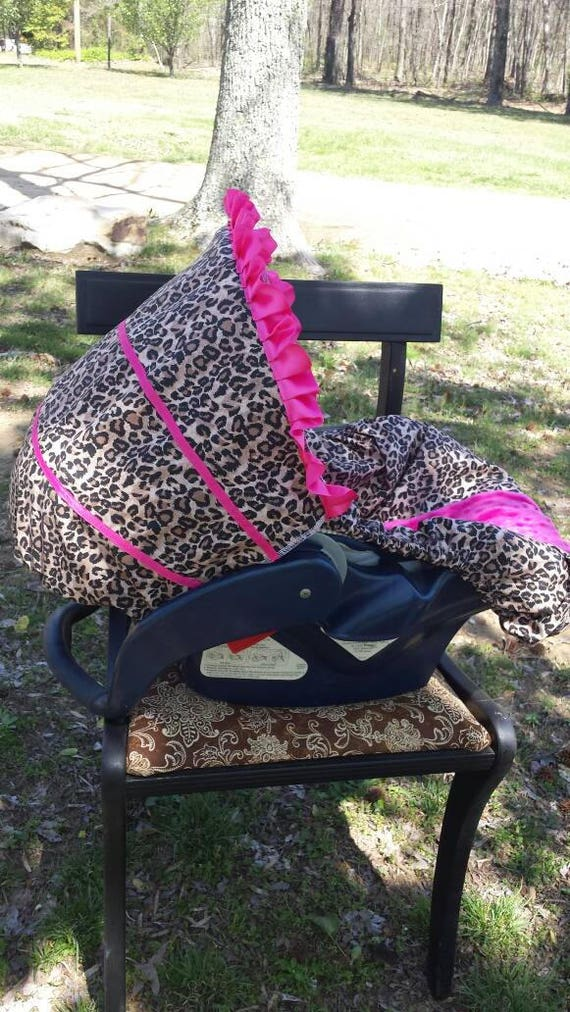 Cheetah or Leopard baby car seat cover infant seat cover slip cover Graco Hot pink universal