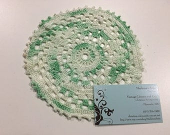 Vintage 7 inch White and Green Hand Crochet doily for housewares, home decor, pillows, crafts, shabby chic, bags by MarlenesAttic