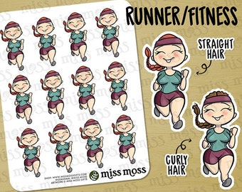 Light Skin Running Exercise Gym Time Planner Stickers White Caucasian Asian - Erin Condren, Happy Planner, Kikki K, Filofax, Decorative