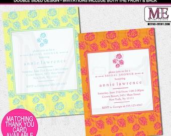 Vibrant & Modern Floral Bridal Shower Invitations