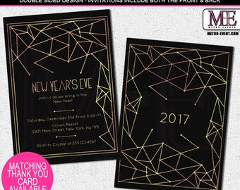 Gold & Black New Years Eve Party Invitations