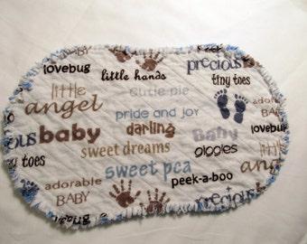 Blue Baby Boy Footprint Chenille Burp Cloth
